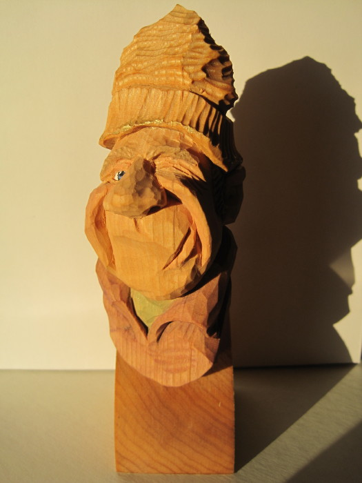Wood carving three men in hats caricature carving john