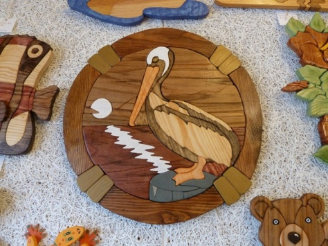 pelican wood carving